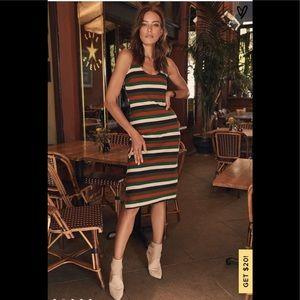 Lulus Red & Green Multi Striped Bodycon Midi Dress